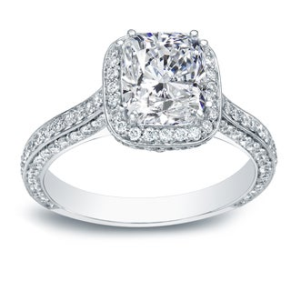 Auriya 18k White Gold 2 1/4ct TDW Certified Cushion Diamond Engagement Ring (H-I, VS1-VS2)
