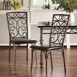 Zella Bistro Faux Marble Top Metal Scroll Dining Chairs ( Set of 4)