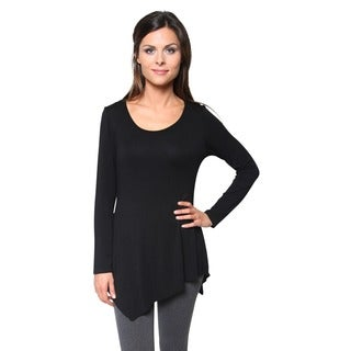 Free to Live Long Asymmetrical Handkerchief Hem Fitted Tunic