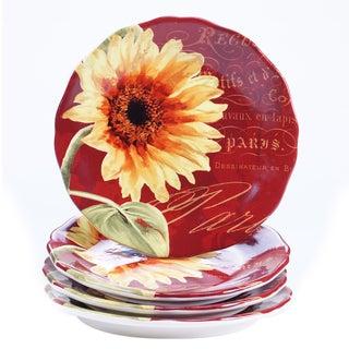 Certified International Paris Sunflower 8.75-inch Salad/Dessert Plates (Set of 4)