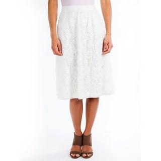 DownEast Basics Women's Egret Gathered Lace Skirt