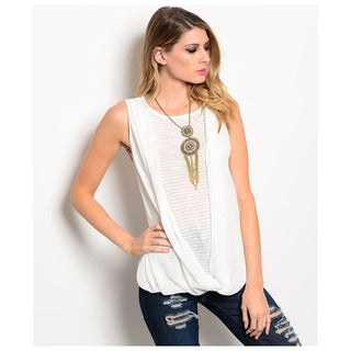 Shop The Trends Women's Sleeveless Striped Inset Open Draped Front Blouse