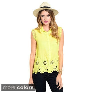 Shop The Trends Women's Sleeveless Lace Button Down Shirt with Eyelet Hem