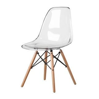 Retro Eames Style Molded Clear Plastic Wood Eiffel Legs Side Chair (China)
