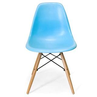 Retro Eames Style Molded Plastic Wood Eiffel Legs Blue Side Chair (China)
