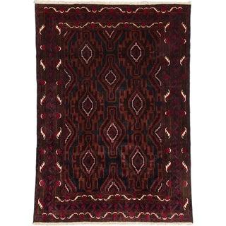 Ecarpetgallery Royal Balouch Dark Navy, Dull Red Wool Open Field Rug (6'8 x 9'1)