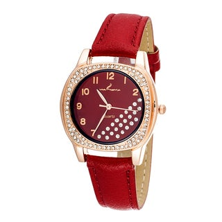 Via Nova CZ Zirconia Women's Rose Case and Plate / Red Strap Watch