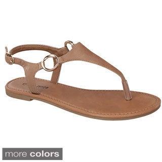 Top Moda BREAK-10 Women's T-Strap Buckle Sandals