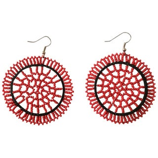 Zulu Round Beaded Earrings - Red (South Africa)