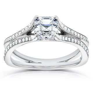 Annello 14k White Gold 1 1/4ct TDW Certified Asscher Diamond Engagement Ring (G, VS2)