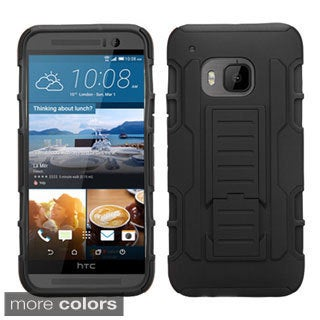 Insten Black/Green Car Armor Hard PC/ Silicone Dual Layer Hybrid Phone Case Cover with Stand For HTC One M9