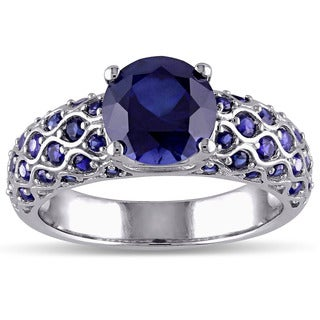 Miadora 10k White Gold Created Blue Sapphire Engagement Ring