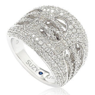 Suzy Levian Sterling Silver Cubic Zirconia Gladiator Weaving Ring