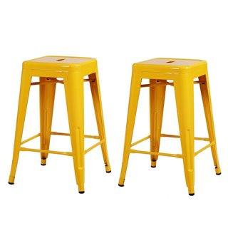 Adeco 24-inch Light Blue Glossy Metal Tolix Style Chair Counter Stool, Set of Two