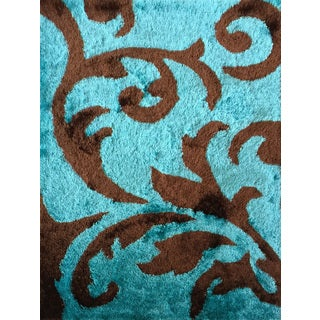 Rug Addiction Hand-tufted Polyester Turquoise and Brown Shag Area Rug (5'x7')