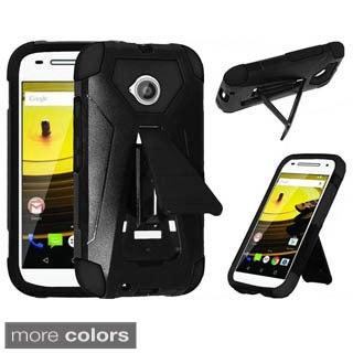 Insten Black Hard PC/ Silicone Dual Layer Hybrid Phone Case Cover with Stand For LG Lucky/Sunrise