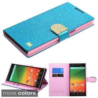 Insten Hot Pink/Gold Leather Glitter Phone Case Cover with Stand/Wallet Flap Pouch/Diamond For ZTE ZMax