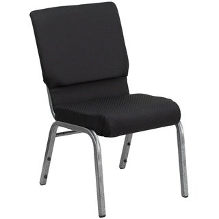 Hercules Series 18.5-inch Wide Black Patterned Fabric Stacking Church Chair with 4.25-inch Thick Seat and Silver Vein Frame