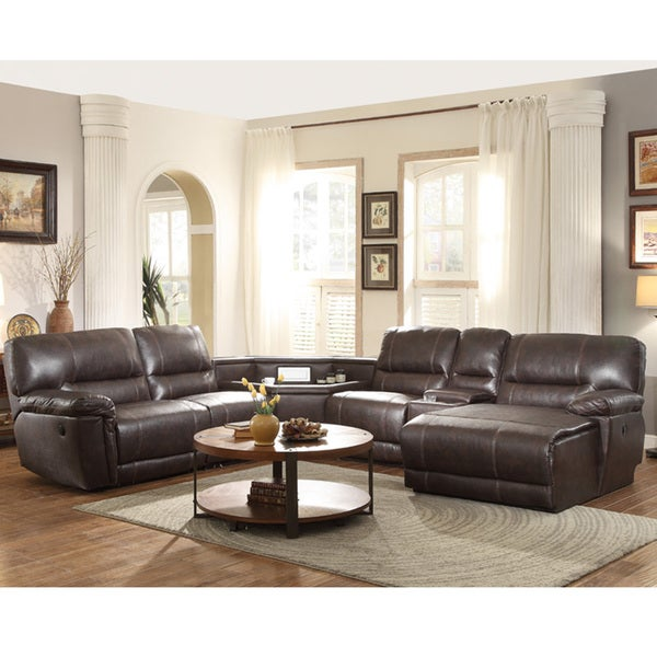 Hardy bonded leather reclining sectional complete with for Bonded leather sectional with chaise