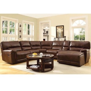 Hardy Bonded Leather Reclining Sectional With Chaise