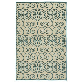 Indoor/Outdoor Luka Blue Scroll Rug (8'8 x 12'0)