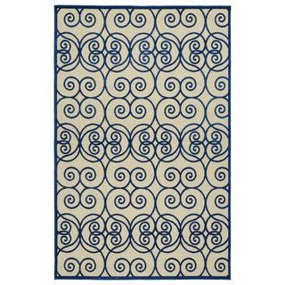 Indoor/Outdoor Luka Navy Scroll Rug (7'10 x 10'8)