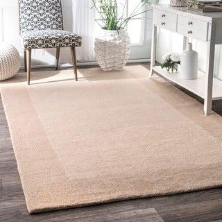 nuLOOM Handmade Solid Border Wool Rug (3' x 5')