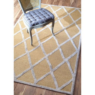 nuLOOM Handmade Wool/ Viscose Trellis Fancy Grey Rug (8'6 x 11'6)