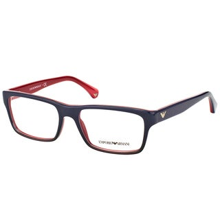 Emporio Armani Men's EA 3050 5347 Blue Gradient On Red Plastic Rectangle 53mm Eyeglasses