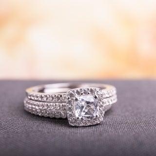 Miadora Sterling Silver Created White Sapphire Bridal Ring Set