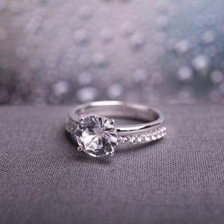 Miadora 10k White Gold Created White Sapphire Bridal Ring Set