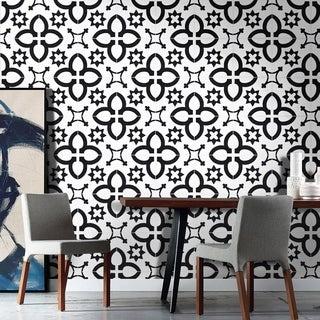 Pack of 12 Megouna Black/ White Handmade Cement/ Granite Moroccan Tile 8-inch x 8-inch Floor/ Wall Tile (Morocco)