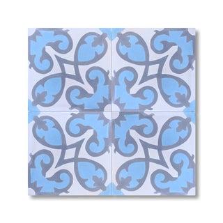 Pack of 12 Agadir Sky Blue Handmade Cement/ Granite Moroccan Tile 8-inch x 8-inch Floor/ Wall Tile (Morocco)