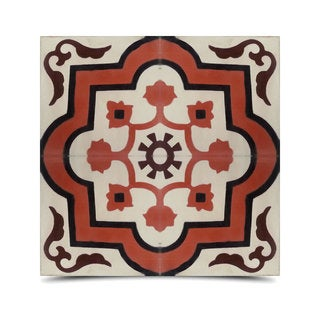 Pack of 12 Taza Brown/ Red Handmade Cement/ Granite Moroccan Tile 8-inch x 8-inch Floor/ Wall Tile (Morocco)