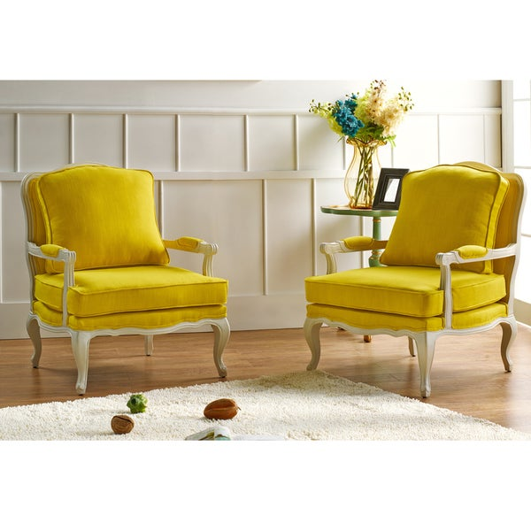 Antoinette Traditional Classic Antiqued French Yellow Accent Chair Overstock Shopping Great