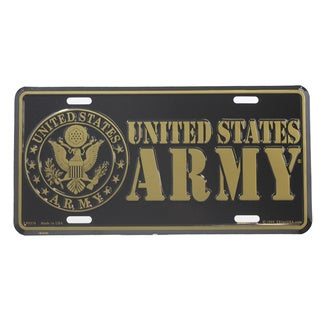 US Army Gold Color Logo License Plate