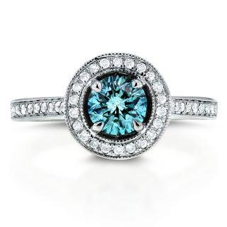 Annello 14k White Gold 1 ct TDW Fancy Blue Halo Diamond Ring (G-H, SI1-SI2)
