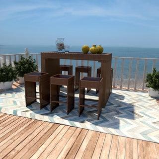 Portfolio Aldrich Brown 7-piece Indoor/Outdoor Resin Wicker Bar Stool and Table Set