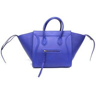 Celine 'Phantom' Royal Blue Smooth Leather Medium Luggage Tote Bag