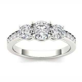 De Couer 14k White Gold 1 1/4ct TDW Diamond Three Stone Engagement Ring (H-I, I2)