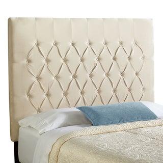 Humble + Haute Halifax Velvet Ivory Tall Queen Diamond Tufted Upholstered Headboard