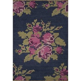 Flatweave Casual Floral Pattern Dark denim/ Chateau rose (5' x 8') Area Rug