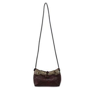 Natural Fibers Cotton 'Brown Siam Parade' Shoulder Bag (Thailand)