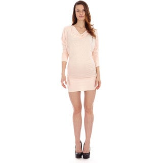 Women's Batwing Knit Long Sleeve Casual Tunic Dress