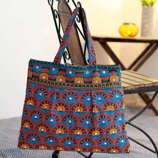 Cotton 'Bhavnagar Sun' Embroidered Tote Handbag (India)