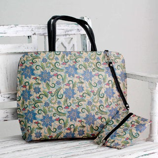 Embellished 'Blue Floral Song' Tote Handbag and Change Purse (India)