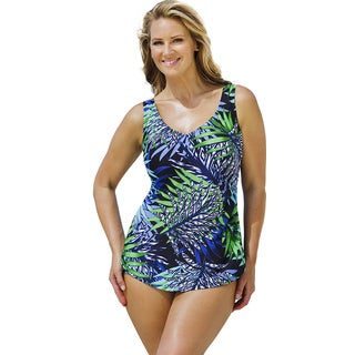 Beach Belle Women's Technicolor Oasis Sarong Front Swimsuit