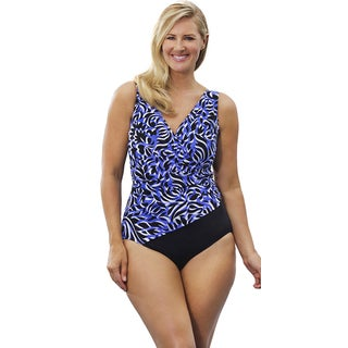 Longitude Women's Midnight Starburst Side Shirred Surplice Swimsuit