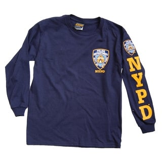NYPD Kids Unisex Yellow Sleeve Print And Chest Patch Navy Long Sleeve Tee