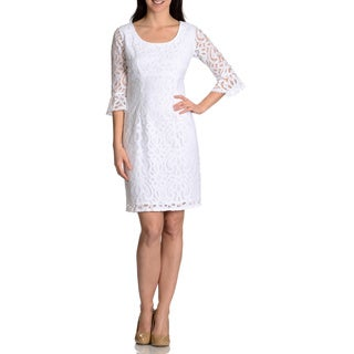 Rabbit Rabbit Rabbit Women's Lace Bell Sleeve Sheath White Dress